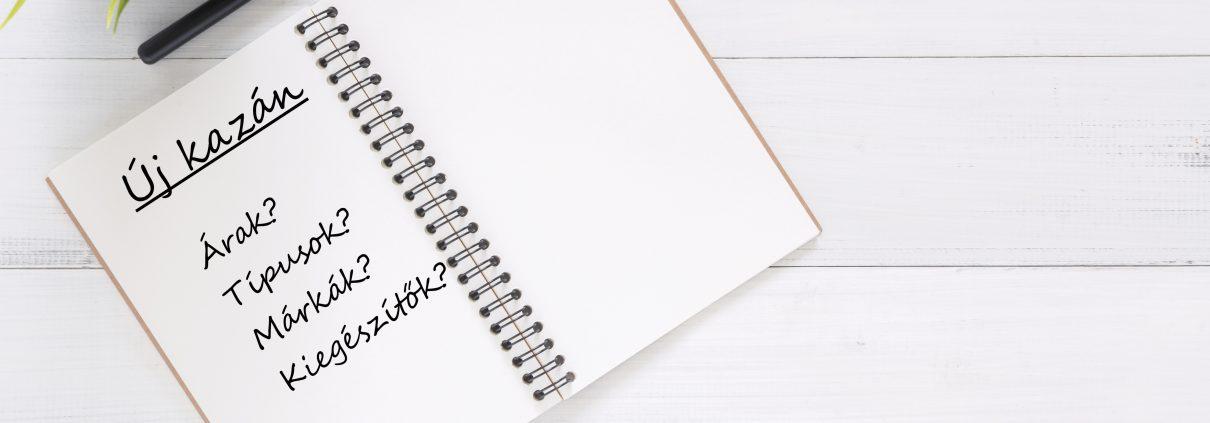 egy nyitott jegyzet füzet új kazán felirattal